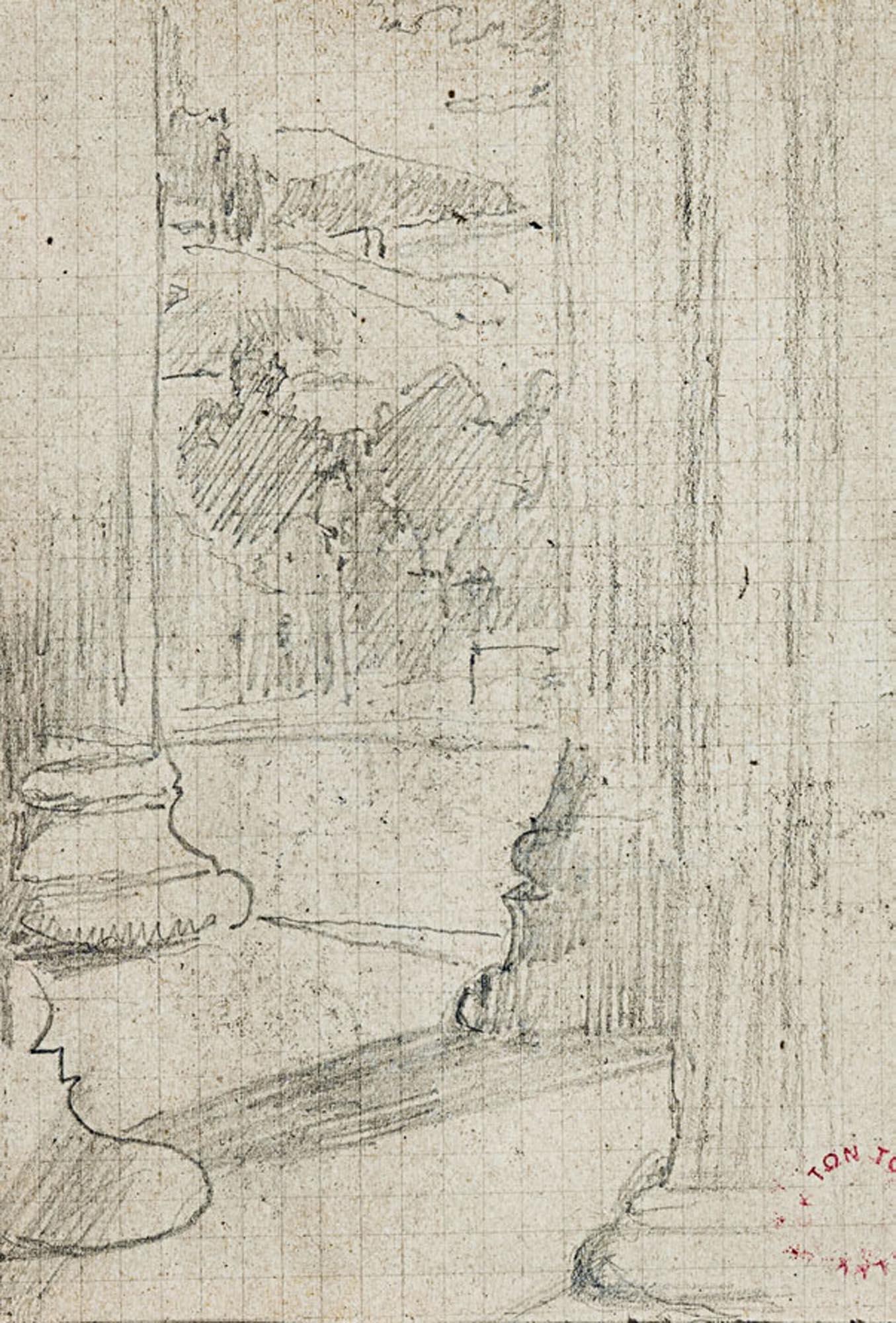 α) Εσωτερικό εκκλησίας, β) Τρία μικρά σχέδια από εσωτερικό σπιτιού, γ) Κίονες